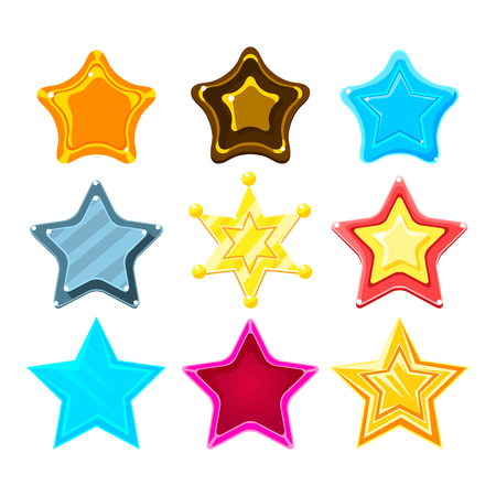 Five-Point Colorful Cartoon Star Set For Flash Video Game Rewards , Bonuses And Stickers