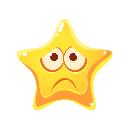 Emotional face of yellow star, sad and unhappy, cartoon character Çizim