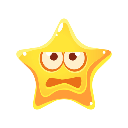 Frightened face of yellow star, cartoon character