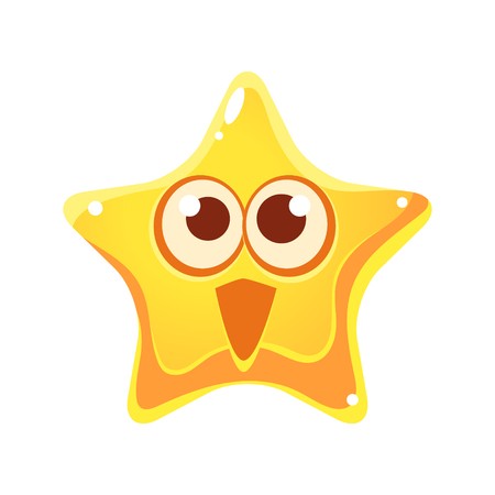 Surprised and happy emotional face of yellow star, cartoon character Illustration