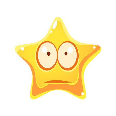 lamentable: Worry and sad emotional face of yellow star, cartoon character