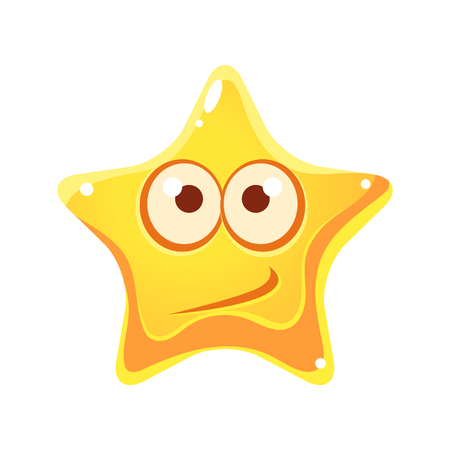 Confused emotional face of yellow star, cartoon character