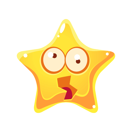 Yellow star shocked and dizzy with rotating big eyes Illustration