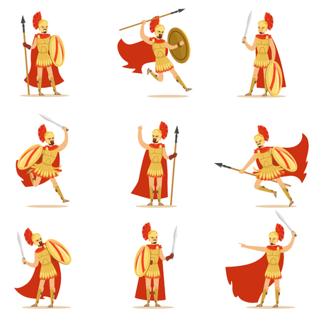 Spartan Soldier In Golden Armor And Red Cape Set Of Vector Illustrations With Greek Military Hero In The Fight Stock Vector - 76056289
