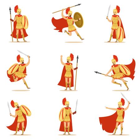 Spartanischer Soldat in der goldenen Rüstung und im roten Umhang Satz Vektorillustrationen mit griechischem Militärhelden im Kampf Standard-Bild - 76056289