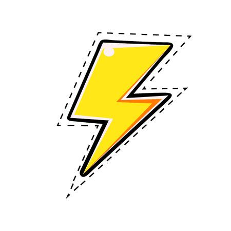 노란색 전기 번개, 팝 아트 복고풍 스타일의 벡터 만화 그림