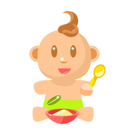 Small Happy Baby Boy In Green Nappy Eating Porridge With Spoon Vector Simple Illustrations With Cute Infant Illustration