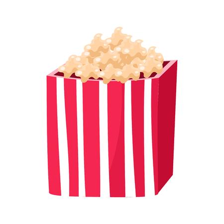 ポップコーン スナック、映画館、映画館でストライプ紙バケツ関連オブジェクト漫画カラフルなベクトル図
