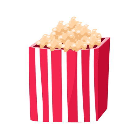 Stripy Paper Bucket With Popcorn Snack, Cinema And Movie Theatre Related Object Cartoon Colorful Vector Illustration Illustration