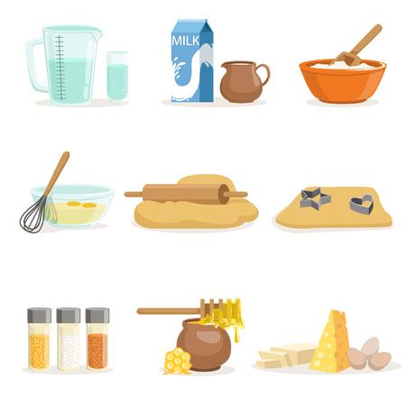 Bakken ingrediënten en keukengerei en gebruiksvoorwerpen Set van realistische Cartoon vectorillustraties met koken gerelateerde objecten