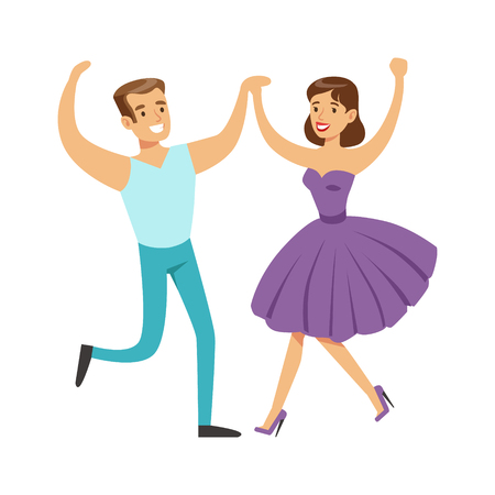 Couple In With Woman In Fancy Dress Dancing On Dancefloor, Part Of People At The Night Club Series Of Vector Illustrations