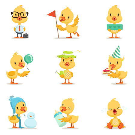 Little Yellow Duck Chick Different Emotions And Situations Set Of Cute Emoji Illustrations
