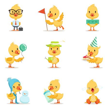 Little Yellow Duck Chick Diferentes Emociones y Situaciones Conjunto de Cute Emoji Ilustraciones