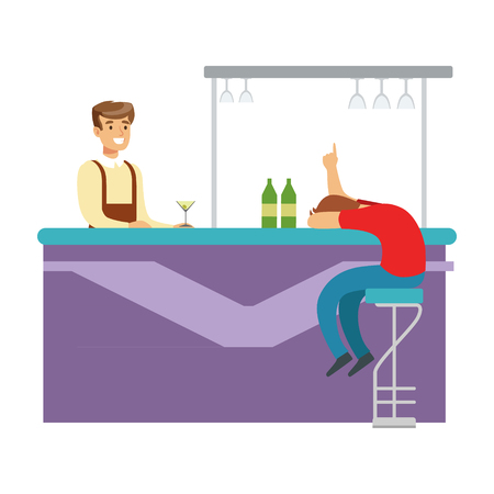 Drunken Man Asleep At The Bar Counter, Part Of People At The Night Club Series Of Vector Illustrations