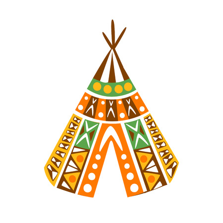 Wigwam Hut With Decorative Pattern Textile, Native Indian Culture Inspired Boho Ethnic Style Print Illustration