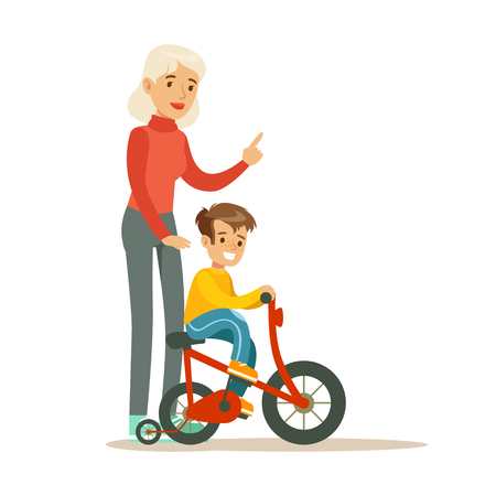 Grandmother Teaching Boy To Ride Bicycle, Part Of Grandparents Having Fun With Grandchildren Series Illustration