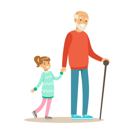 Grandfather And Girl Walking Holding Hands, Part Of Grandparents Having Fun With Grandchildren Series Illustration