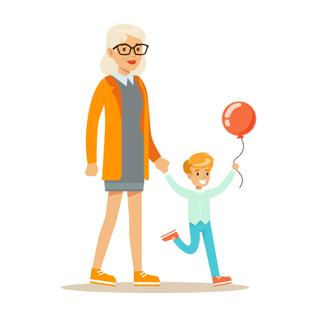 Grandmother And Boy With Balloon Holding Hands Walking, Part Of Grandparents Having Fun With Grandchildren Series Illustration