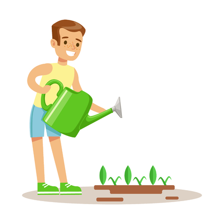 Little Boy Watering Garden Plant WIth Watering Can, Part Of Grandparents Having Fun With Grandchildren Series Illustration