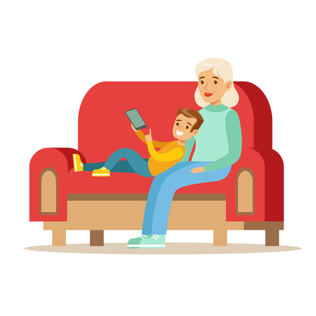 Grandmother And Boy Reading Electronic Book, Part Of Grandparents Having Fun With Grandchildren Series Ilustrace
