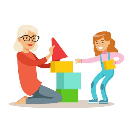 少女と祖母建物ピラミッド ブロック、祖父母孫シリーズを楽しんでの一部から