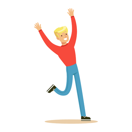 Blond Guy In Red Sweater Overwhelmed With Happiness And Joyfully Ecstatic, Happy Smiling Cartoon Character