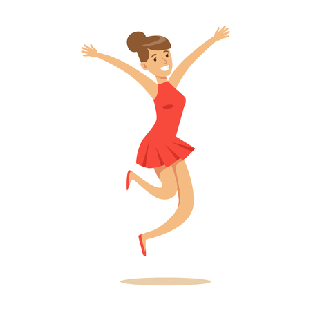Girl In Short Red Dress Overwhelmed With Happiness And Joyfully Ecstatic, Happy Smiling Cartoon Character