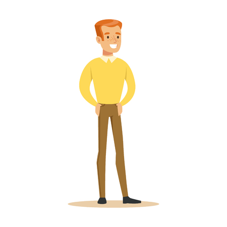 Redhead Guy In Yellow Sweater Overwhelmed With Happiness And Joyfully Ecstatic, Happy Smiling Cartoon Character