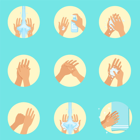 Hands Washing Sequence Instruction, Infographic Hygiene Poster voor juiste wasprocedures