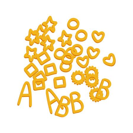 Noodle letters. Raw pasta, macaroni, cartoon illustration