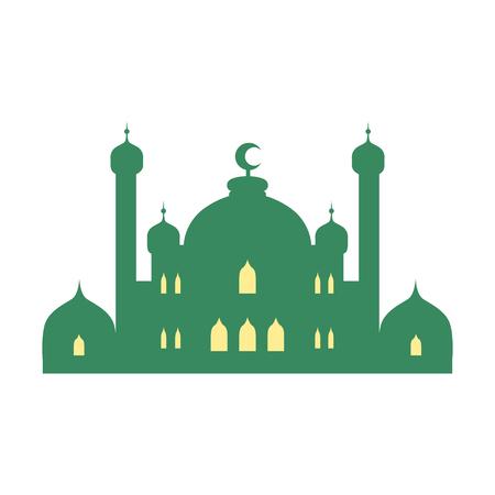 Moskee en minaretten. Kleurrijke vectorillustratie