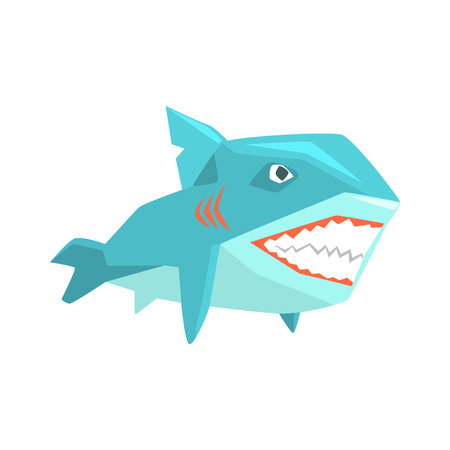 Great White Shark Marine Fish Living In Warm Sea Waters Cartoon Character Vector Illustrations Banco de Imagens - 75948288