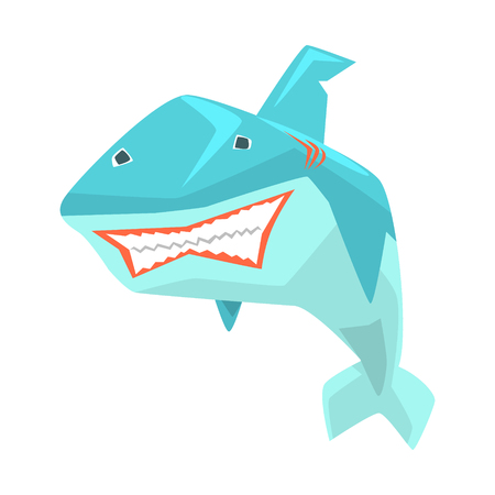 Great White Shark Marine Fish Living In Warm Sea Waters Cartoon Character Vector Illustrations Illustration