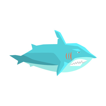 Great White Shark Marine Fish Living In Warm Sea Waters Cartoon Character Vector Illustrations Illustration