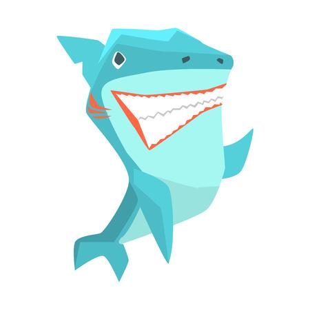 gills: Great White Shark Marine Fish Living In Warm Sea Waters Cartoon Character Vector Illustrations Illustration