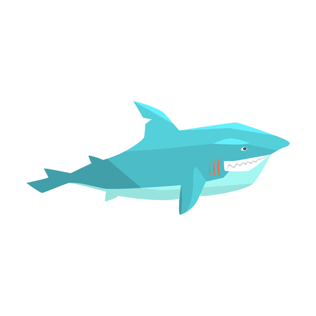 Great White Shark Marine Fish Living In Warm Sea Waters Cartoon Character Vector Illustrations Stock Vector - 75949194