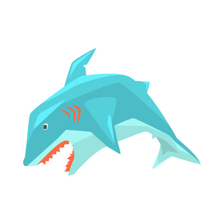 Great White Shark Marine Fish Living In Warm Sea Waters Cartoon Character Vector Illustrations Ilustração
