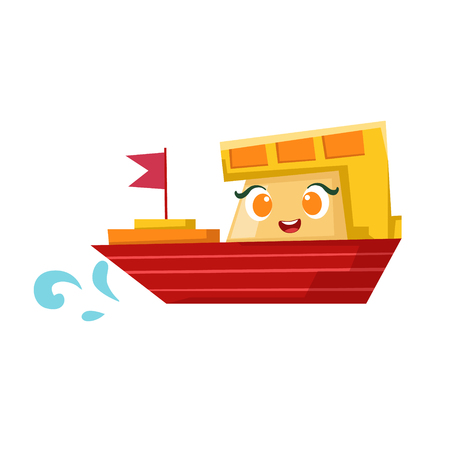 Red And Orange Cargo Ship, Cute Girly Toy Wooden Boat With Face Cartoon Illustration Illustration