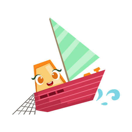 Sailing Fisherman Fishing Boat, Cute Girly Toy Wooden Ship With Face Cartoon Illustration