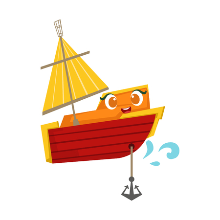 Orange And Red Sailing Boat With An Anchor, Cute Girly Toy Wooden Ship With Face Cartoon Illustration