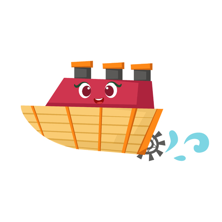 Little Paddle Retro Steamer Boat, Cute Girly Toy Wooden Ship With Face Cartoon Illustration Illustration