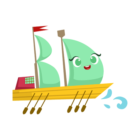 Sailing Big Boat With Paddles, Cute Girly Toy Wooden Ship With Face Cartoon Illustration Illustration