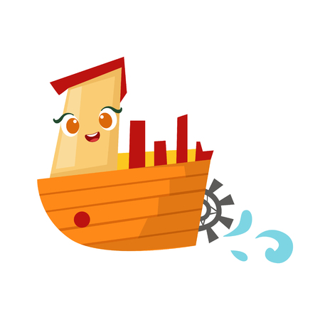 Retro Stemer With Paddle Wheel, Cute Girly Toy Wooden Ship With Face Cartoon Illustration Illustration