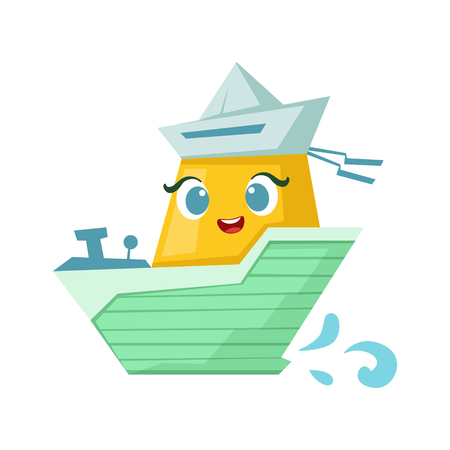Green And Yellow Milintary Boat, Cute Girly Toy Wooden Ship With Face Cartoon Illustration