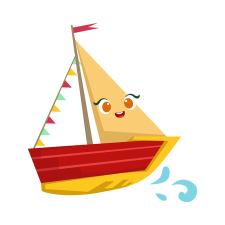 Sailing Yaht With Flag Garland, Cute Girly Toy Wooden Ship With Face Cartoon Illustration