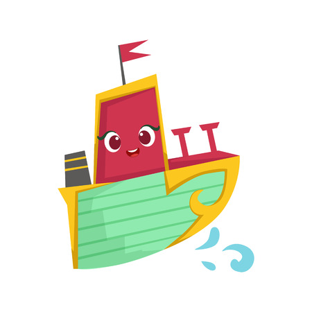 Pink, Green And Yellow, Cute Girly Toy Wooden Ship With Face Cartoon Illustration