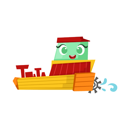 Green And Yellow Paddle Steamer Boat, Cute Girly Toy Wooden Ship With Face Cartoon Illustration Illustration