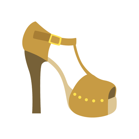 ankle strap: Ankle Strap Shoe On A Heel, Isolated Footwear Flat Icon, Shoes Store Assortment Item