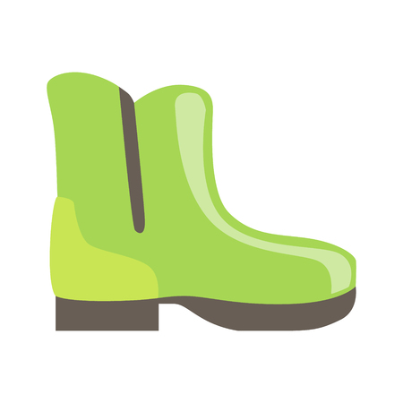 shoe store: Green Rubber Boot, Isolated Footwear Flat Icon, Shoes Store Assortment Item