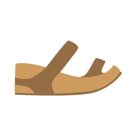 simple store: Comfortable Leather Sandal, Isolated Footwear Flat Icon, Shoes Store Assortment Item